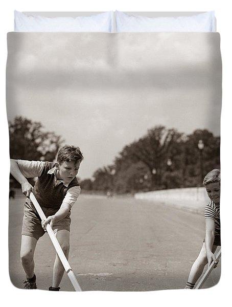 Boys Playing Street Hockey, C. 1930s Duvet Cover