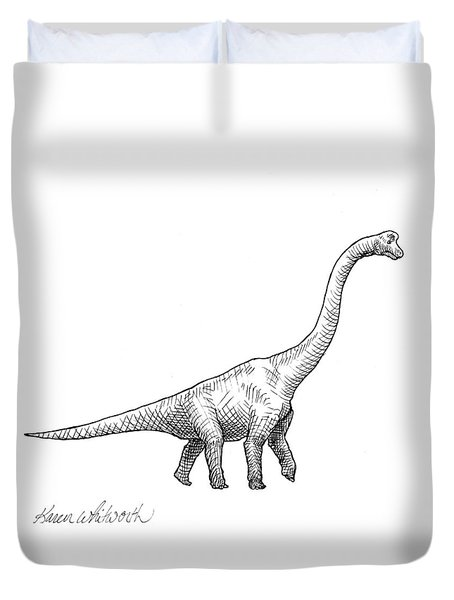Duvet Cover featuring the drawing Brachiosaurus Black And White Dinosaur Drawing  by Karen Whitworth