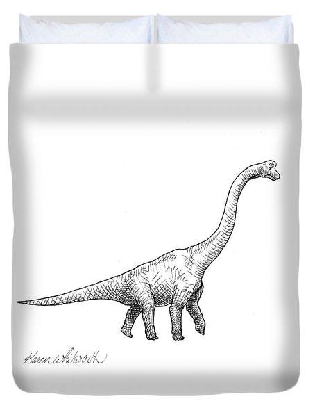 Brachiosaurus Black And White Dinosaur Drawing  Duvet Cover by Karen Whitworth