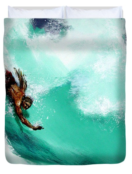 Brad Miller In Makaha Shorebreak Duvet Cover