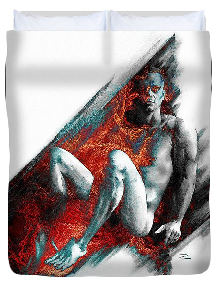Duvet Cover featuring the drawing Bradley With Mood Texture by Paul Davenport