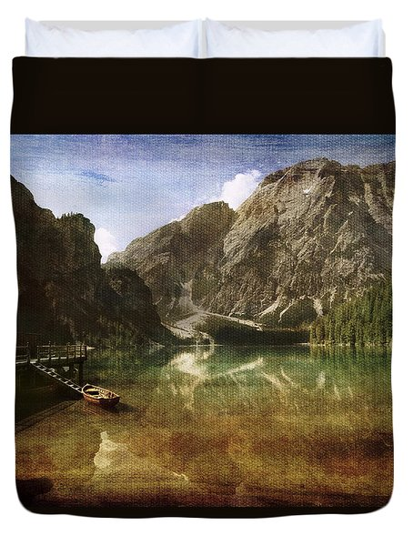 Braies Lake Duvet Cover