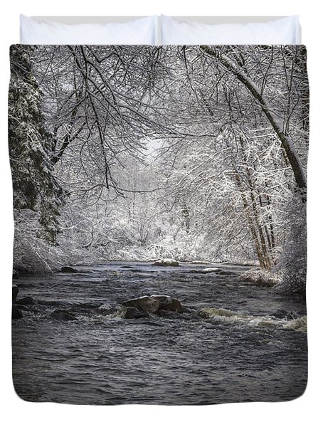 Brainards Bridge In Winter 2014-2 Duvet Cover