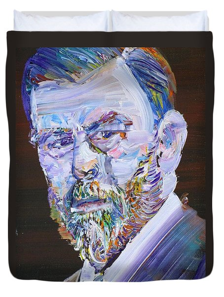 Duvet Cover featuring the painting Bram Stoker - Oil Portrait by Fabrizio Cassetta