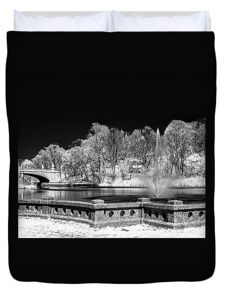 Duvet Cover featuring the photograph Branch Brook Park New Jersey Ir by Susan Candelario