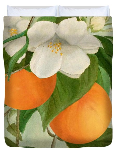 Branch Of Orange Tree In Bloom Duvet Cover