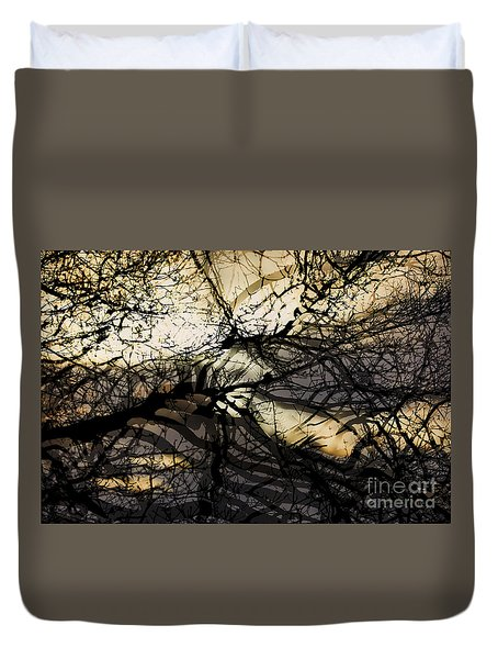 Duvet Cover featuring the photograph Branches Illuminated By Bright Sunshine, Double Exposed Image by Nick Biemans