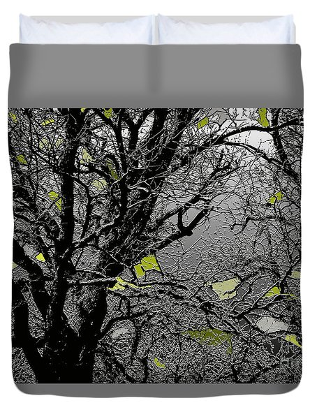 Branches In Green Duvet Cover