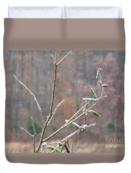 Branches In Ice Duvet Cover