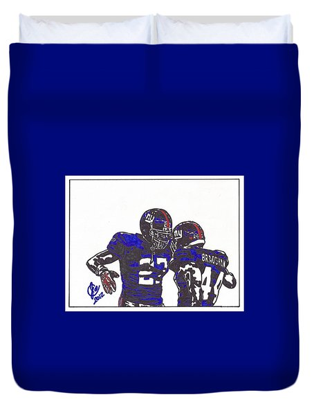 Duvet Cover featuring the drawing Brandon Jacobs And Ahmad Bradshaw by Jeremiah Colley
