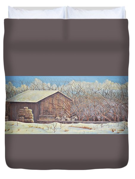 Duvet Cover featuring the painting Brandon's Horses by Dusty Bahnson