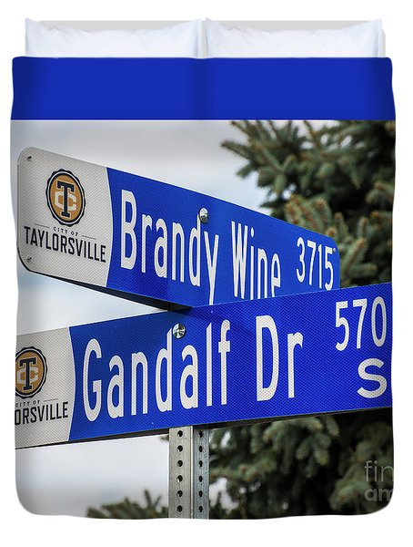 Duvet Cover featuring the photograph Brandywine And Gandalf Street Signs by Gary Whitton
