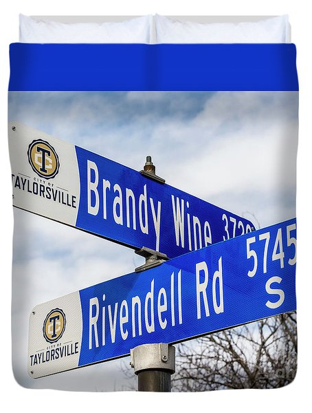 Duvet Cover featuring the photograph Brandywine And Rivendell Street Signs by Gary Whitton