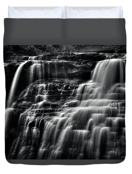 Brandywine Falls At Cuyahoga Valley National Park B W Duvet Cover