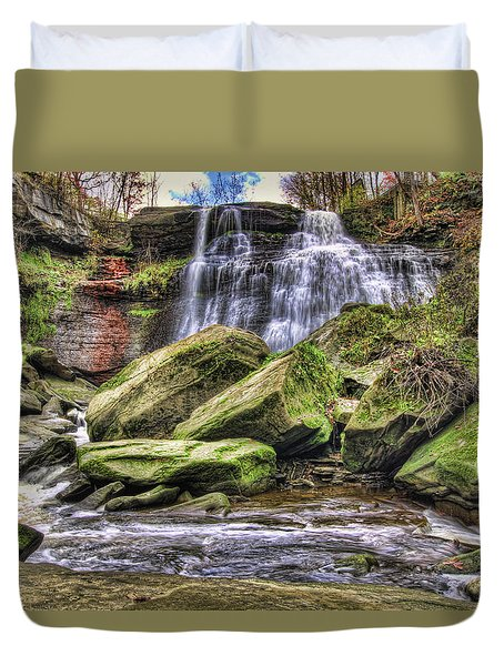 Duvet Cover featuring the photograph Brandywine Falls by Brent Durken