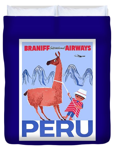 Braniff Airways Peru Child And Llama Travel Poster Duvet Cover