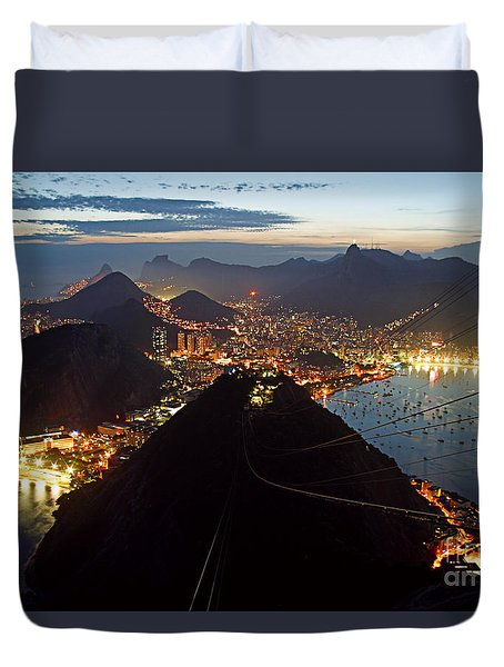 Duvet Cover featuring the photograph Brasil,rio De Janeiro,pao De Acucar,viewpoint,panoramic View,copacabana At Night by Juergen Held