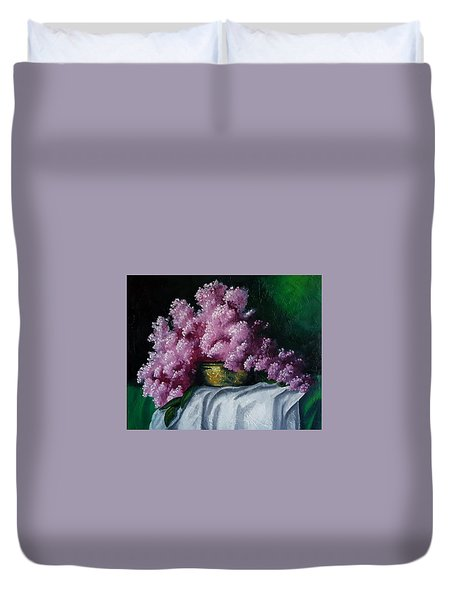 Brass Bowl And Flowers Duvet Cover