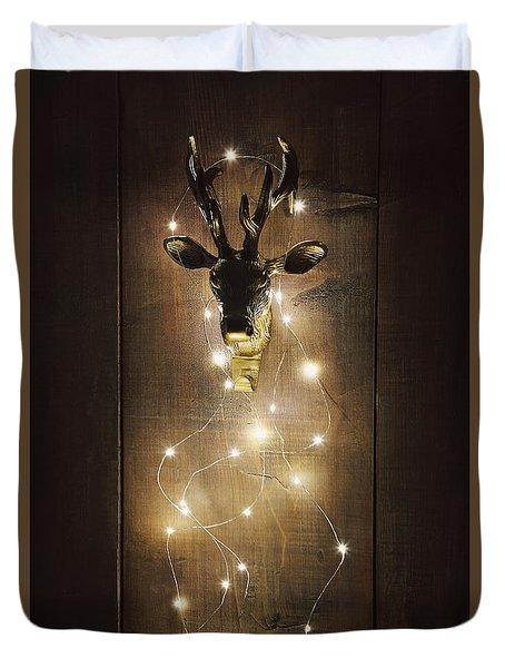 Brass Deer Head With Christmas Lights Duvet Cover