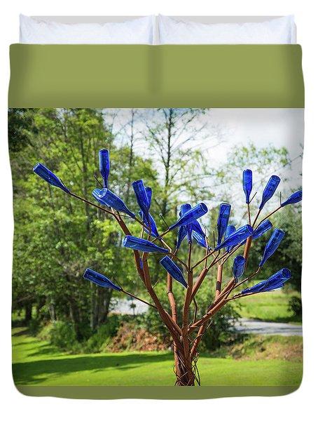 Brass Tree, Blue Bottle Leaves Duvet Cover