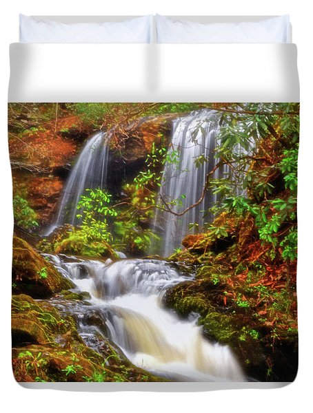 Brasstown Falls 013 Duvet Cover by George Bostian