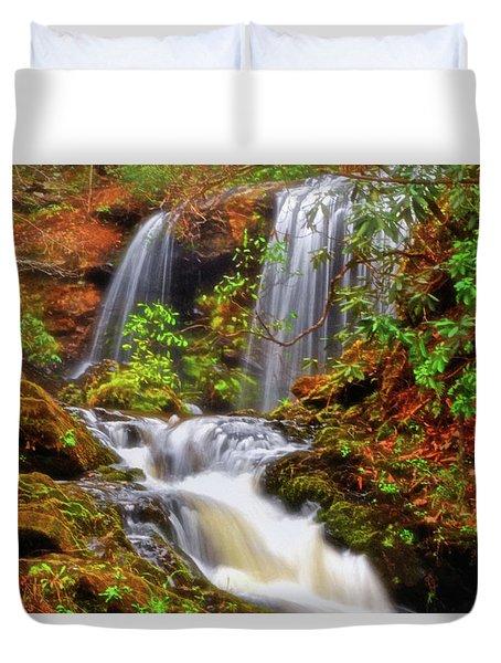 Brasstown Falls 013 Duvet Cover by George Bostian