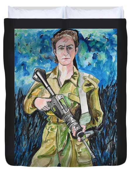 Duvet Cover featuring the painting Bravado, An Israeli Woman Soldier by Esther Newman-Cohen