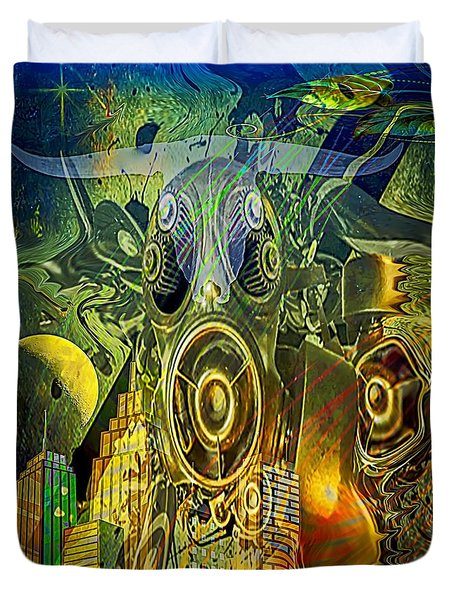 Duvet Cover featuring the digital art Brave New World by Eleni Mac Synodinos