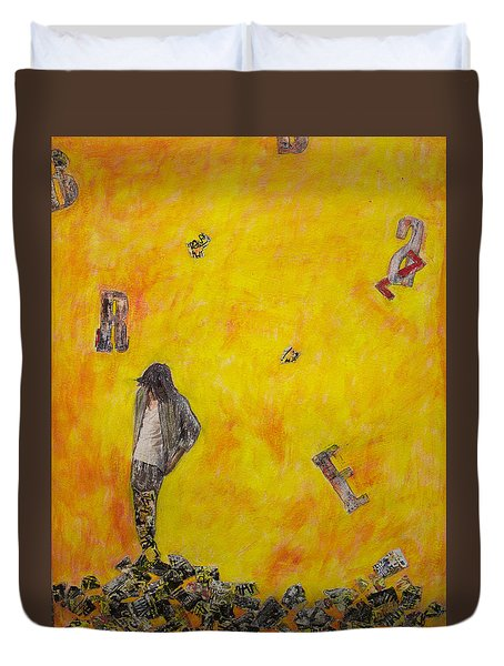 Duvet Cover featuring the painting Brazen by Geraldine Gracia
