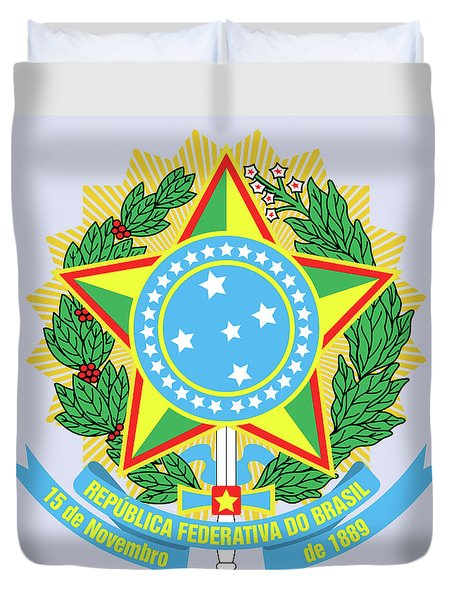 Brazil Coat Of Arms Duvet Cover by Movie Poster Prints