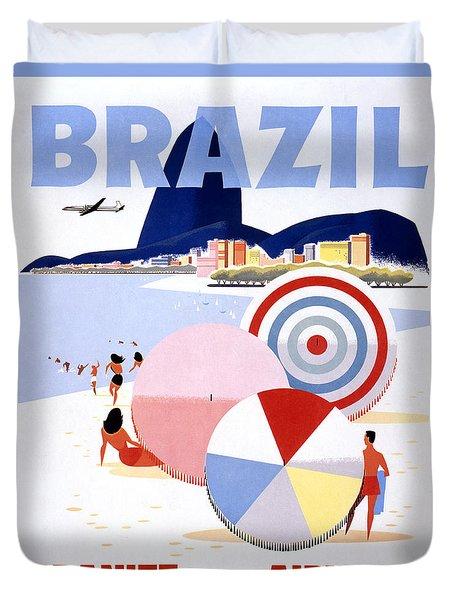 Brazil Vintage Travel Poster Restored Duvet Cover