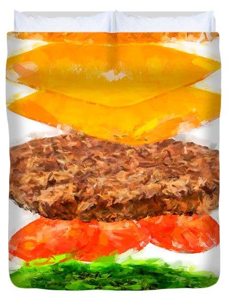 Brazilian Salad Cheeseburger Duvet Cover