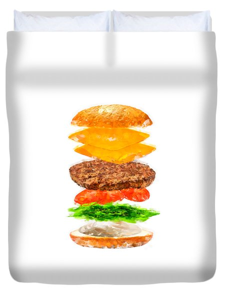 Brazilian Salad Cheeseburger Duvet Cover