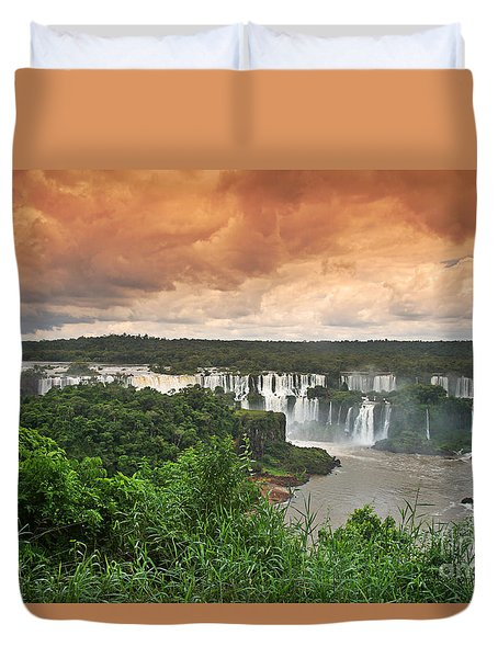 Duvet Cover featuring the photograph Brazil,iguazu Falls,spectacular View by Juergen Held