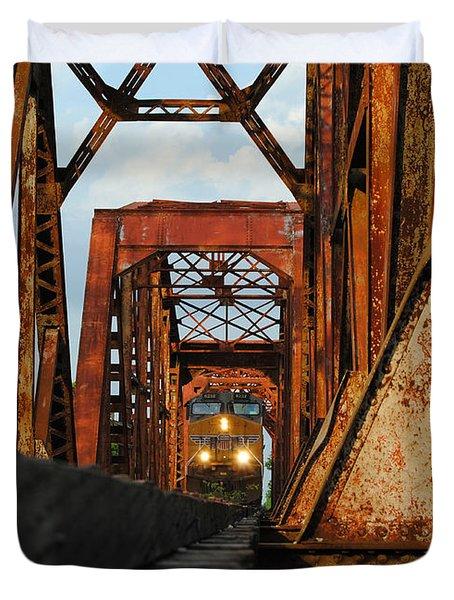 Brazos River Railroad Bridge Duvet Cover