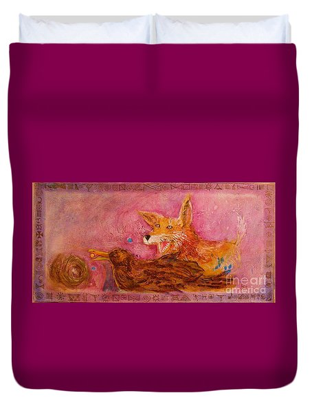 Bre Fox And Bre Crow Duvet Cover by Gertrude Palmer