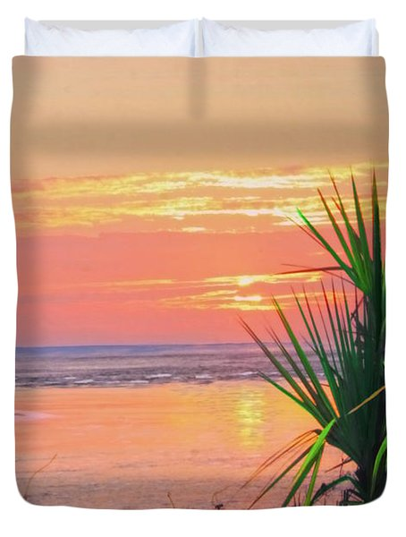 Breach Inlet Sunrise Palmetto  Duvet Cover