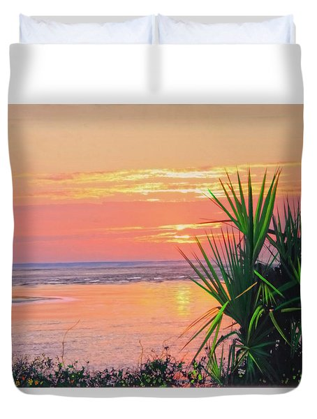 Breach Inlet Sunrise Palmetto  Duvet Cover