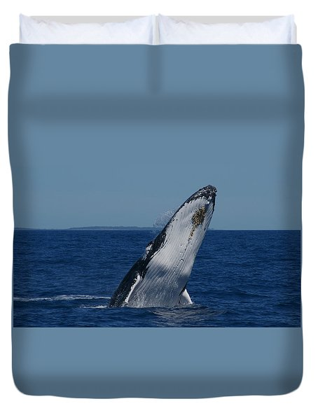 Duvet Cover featuring the photograph Breaching Humpback Whale by Gary Crockett