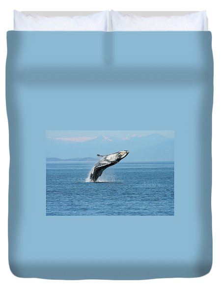 Breaching Humpback Whales Happy-3 Duvet Cover