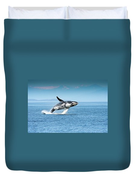 Breaching Humpback Whales Happy-4 Duvet Cover