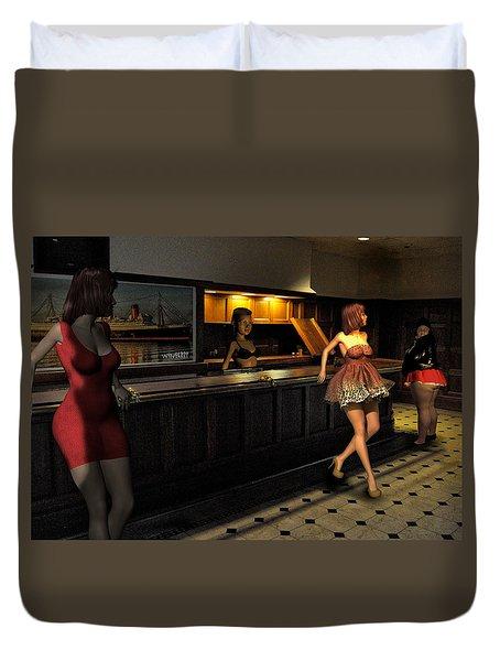 Breaker Bar Girls Duvet Cover by Bob Winberry