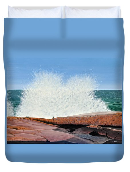 Duvet Cover featuring the painting Breakers On Georgian Bay by Kenneth M  Kirsch