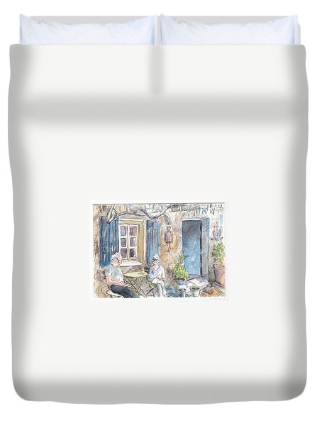 Duvet Cover featuring the painting Breakfast Al Fresco by Tilly Strauss