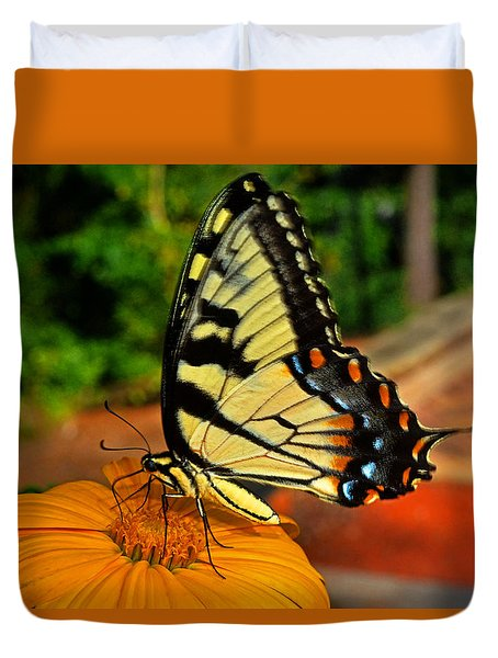 Duvet Cover featuring the photograph Breakfast At The Gardens - Swallowtail Butterfly 005 by George Bostian