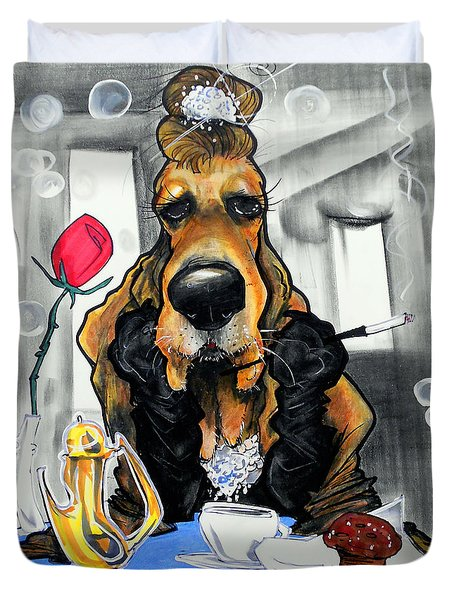 Breakfast At Tiffany's Basset Hound Caricature Art Print Duvet Cover