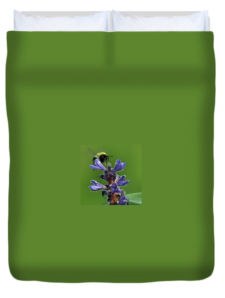 Duvet Cover featuring the photograph Bumble Bee Breakfast by Glenn Gordon
