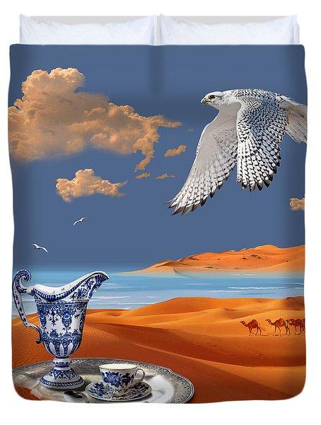 Duvet Cover featuring the digital art Breakfast With White Falcon by Alexa Szlavics