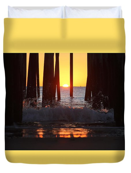 Breaking Dawn At The Pier Duvet Cover