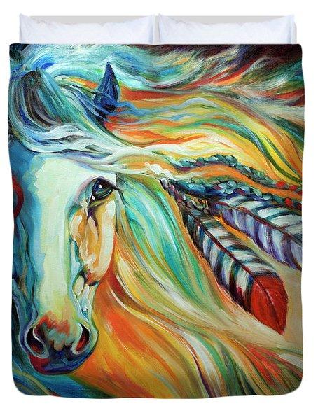 Breaking Dawn Indian War Horse Duvet Cover